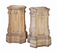a pair of carved oak square pedestals by anonymous (20)
