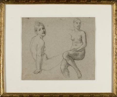 studienblatt mit zwei weiblichen akten kopfstudie verso by jean auguste dominique ingres