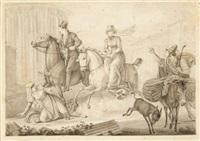 rücksichtslos reitendes paar in den straßen roms by dietrich wilhelm lindau