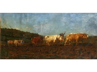 loading the hay wagon; ploughing with oxen by rosa bonheur