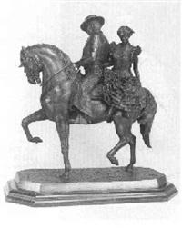 jinette cartujano y muchacha con traje de faralaes a caballo by eduardo soriano menendez