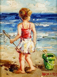 little girl on the beach by claude-marie buford