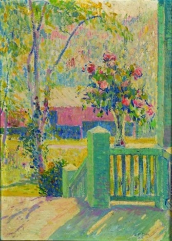 spring bouquet on the porch railing by leo f dorn