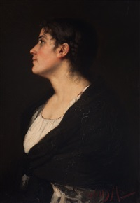 portrait of a young woman by wally (walburga wilhelmina) moes