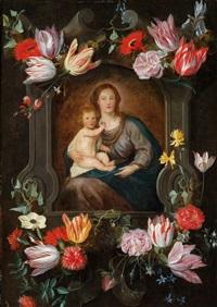 die muttergottes mit dem christusknaben in einer blumengeschmückten kartusche by jan brueghel the younger