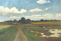 pastoral landscape with country lane and marsh by sir david murray