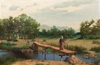 pont animé sur la rivière by hyacinthe alchimowicz