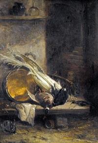 jagdstillleben in interieur by philippe rousseau