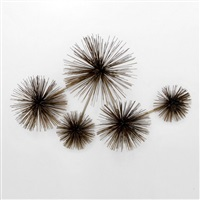 pom-pom/urchin wall sculpture with five pom-poms by curtis jere