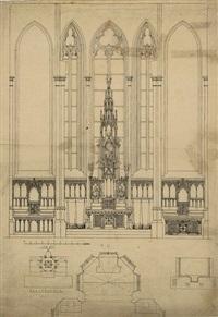 gotischer altarraum mit hochaltar (3 works) by edward jakob von steinle