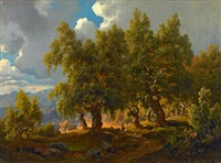 norwegian summer landscape with a shepherd walking under the shade of the trees by joachim frich