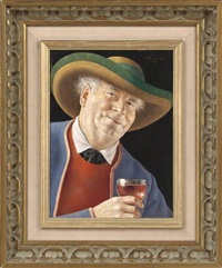 man with a glass of wine by otto eichinger