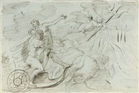 neptune and amphitrite - recto, a nude - verso (+ 2 others; 3 works) by arcangelo foschini