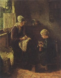 interior scene with mother and child by johan hendrik kaemmerer
