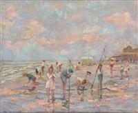 jeux d'enfants à la plage by albert rigaux