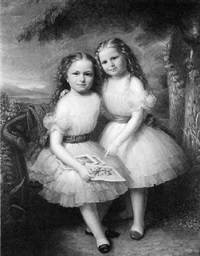 portrait of two blonde girls in a garden by anglo-american school (19)