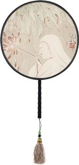 擎莲图 宫扇 设色绢本 (circular fan) by ma jun