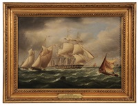 a frigate leaving spithead by james edward buttersworth
