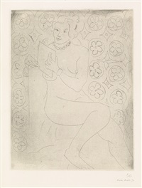 figure lisant, fond moucharabieh by henri matisse