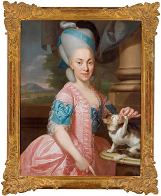 bildnis einer dame in einer rosafarbenen robe mit blauen bändern ein kätzchen fütternd by johann eberhard ihle