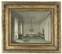 an elegant interior, identified as a palace interior in stuttgart, württemburg by ludwig holthausen