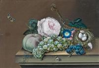 stilleben mit vogelnest und rosen by eduard fichtner