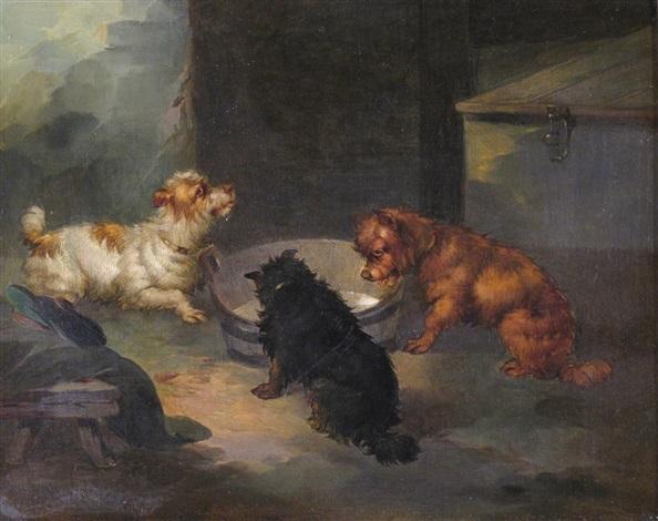 three terriers by a barrel in a barn by paul jones