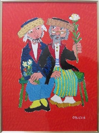 two men with flowers by jovan obican