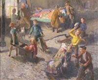 a street market with children playing by david r. buchanan