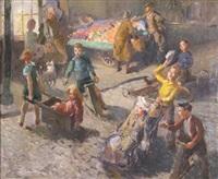 a street market with children playing by david r. buchanan