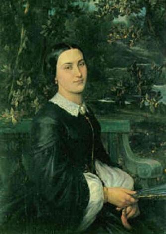 portræt af en dame siddende i en have med en vifte i hånden by joseph benoit guichard