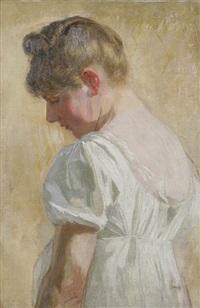 junge frau im weißen kleid, im dreiviertelprofil von hinten gesehen by robert von haug