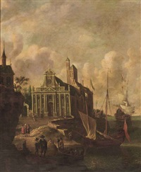 an italianate harbour view with a church and mooring ships by jan abrahamsz beerstraten