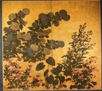 hortensias, chardons en fleurs, glycine et fleurs by japanese school (17)