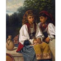 zwei sitzende trachtenmädchen by anonymous-italian (19)