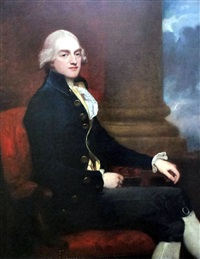 three quarters length portrait of stratford canning (1786-1880) by george romney