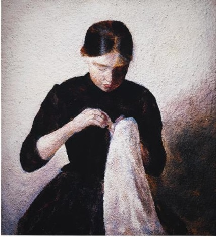 young girl sewing after vilhelm hammershoi from pictures of pigment by vik muniz