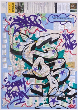 new york city subway map with graffiti by cope2