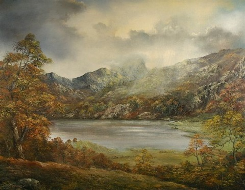 untitled llyn gwynant with rainstorm on the mountains by gwyneth tomos