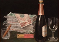 still life with money pile and champagne by victor dubreuil