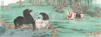 饮马图 (animals) by liu heng