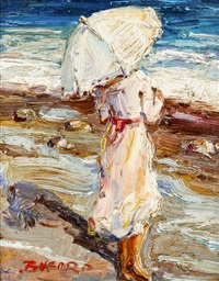 young woman on the beach with umbrella by claude-marie buford