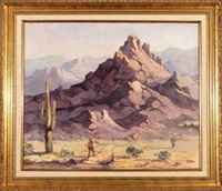 man walking in desert by john cowan templeton