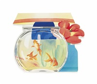 goldfish bowl and lamp by tom wesselmann