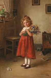 ein kleines mädchen mit einem feldblumenstrauß by edmund adler