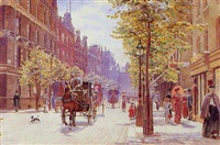 hansom cabs and elegant people in a london street by w.h. simpson