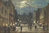 figures and carriages on a street by moonlight (+ figures and a horse-drawn cart on a street by moonlight; pair) by william manners