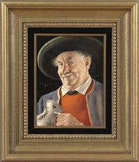 man with painted pottery stein by otto eichinger