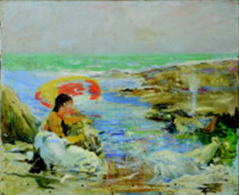 oil sketch of ella napper under a parasol by dame laura knight