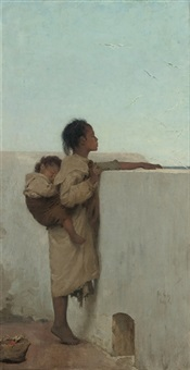 looking out to sea, tangiers by emile wauters
